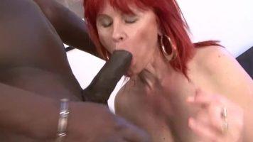 عاهرة ذات الشعر الأحمر تمتص ديك خجول حتى لو كان لديه خبرة في هذا المجال